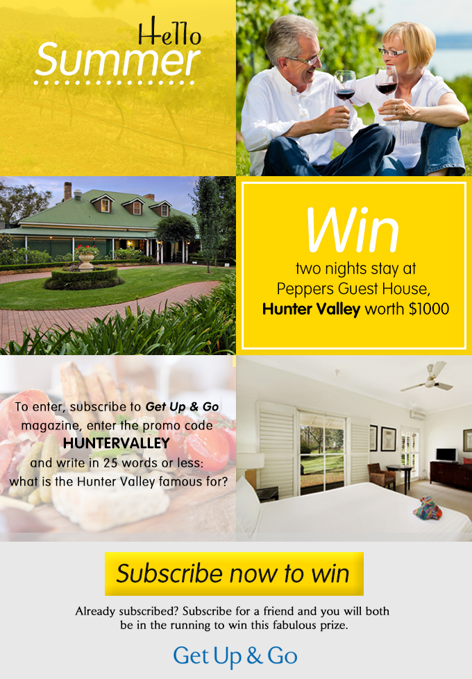 Win a two night's stay for two at Peppers Guest House, Hunter Valley, NSW